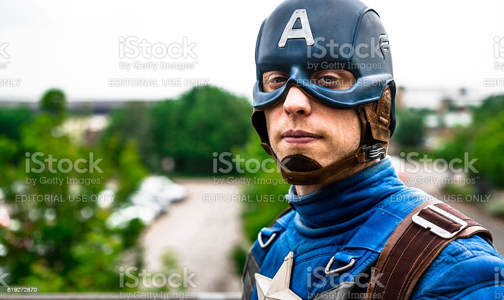 Cosplayer dressed as 'Captain America' from Marvel stock photo