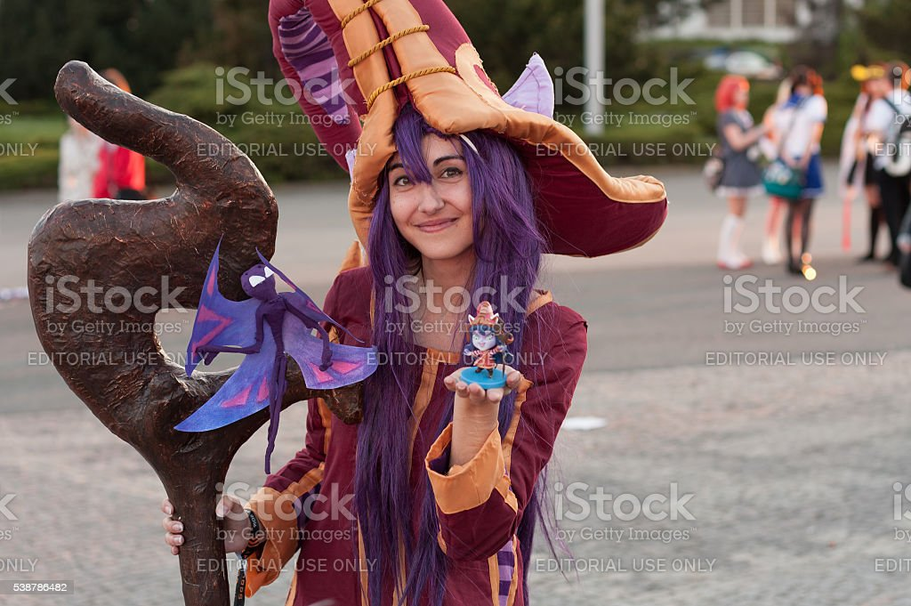 Cosplayer dressed as character Lulu from game League of Legends stock photo