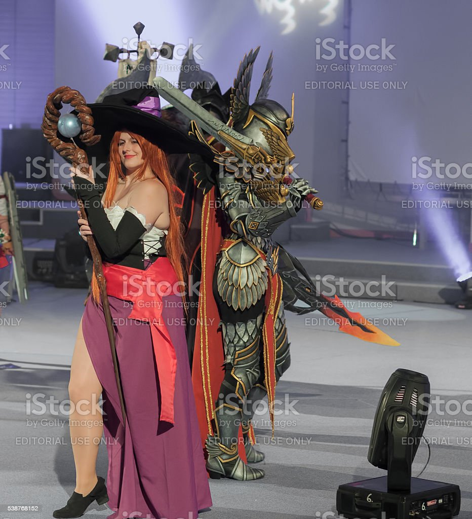 Cosplayer dressed as character Sorceress stock photo