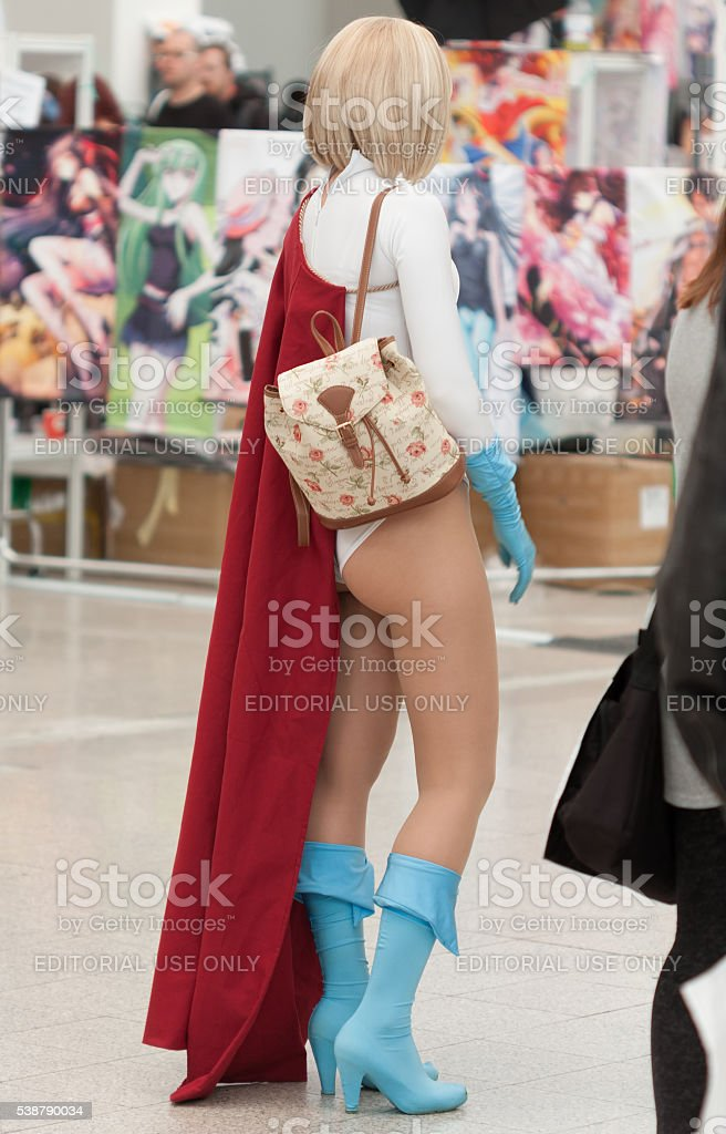 Cosplayer dressed as Power girl from DC Comics stock photo