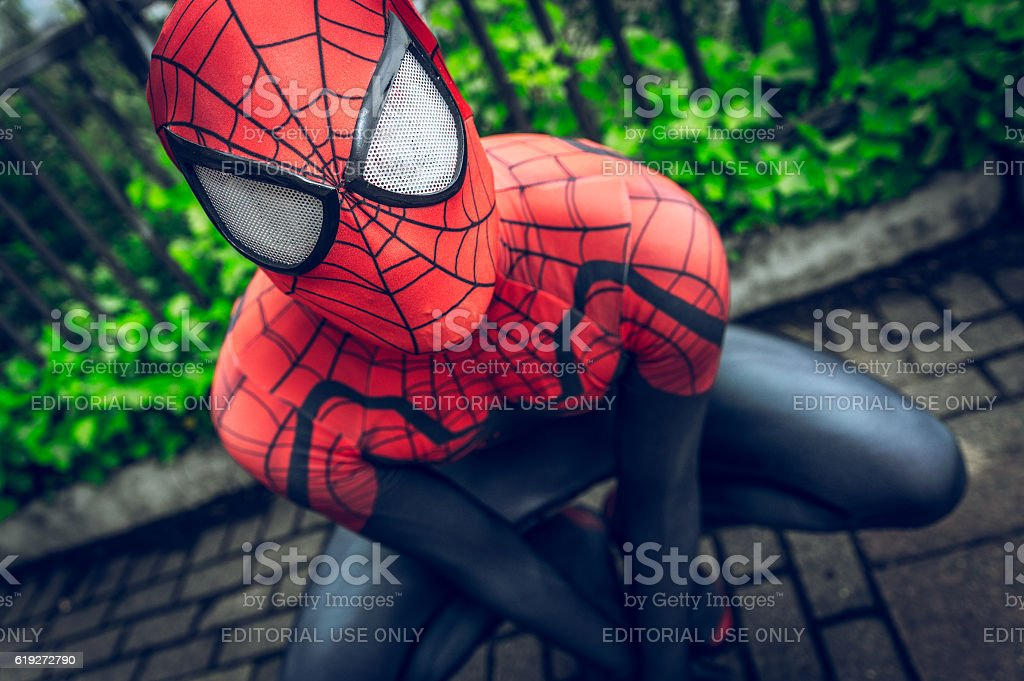 Cosplayer dressed as 'Spiderman' from Marvel - fotografia de stock