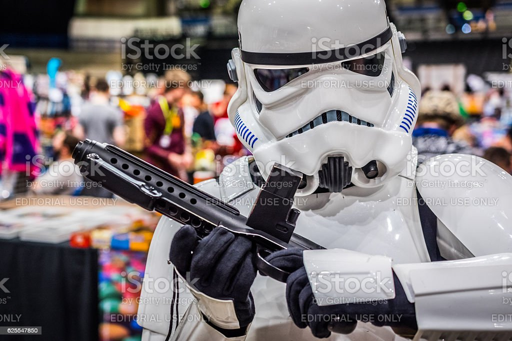 Cosplayer dressed as 'stormtrooper' from 'Star Wars' stock photo