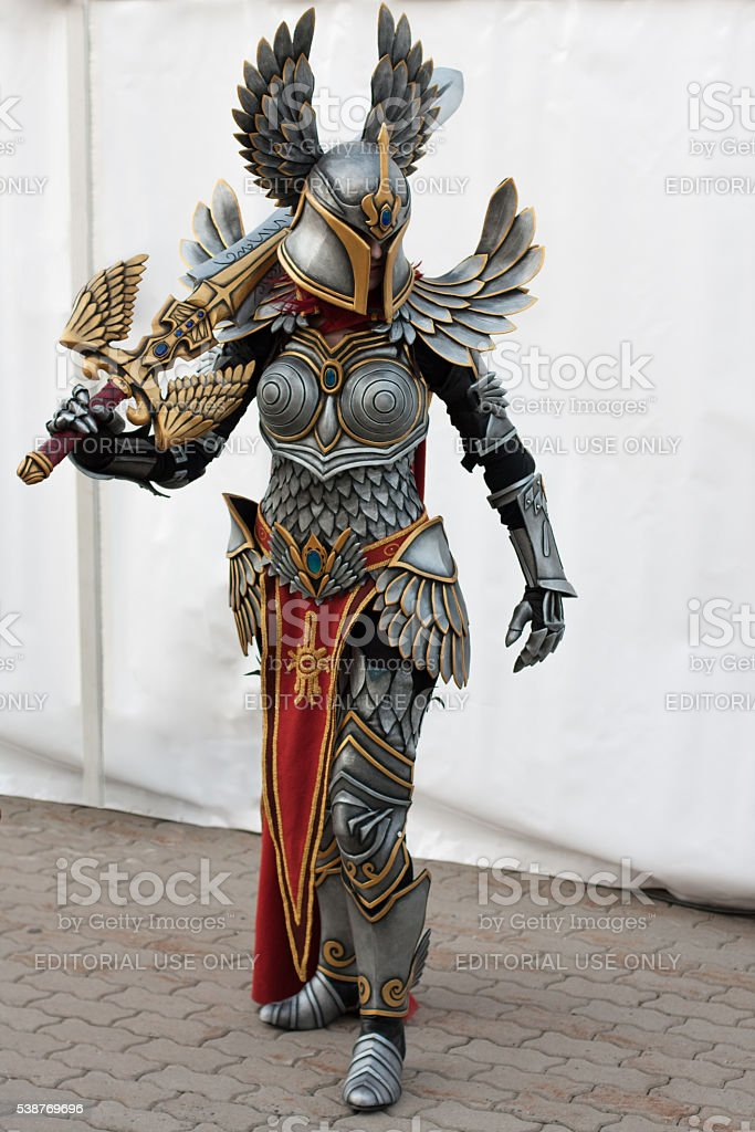Cosplayer dressed as the character Haven  Paladin stock photo