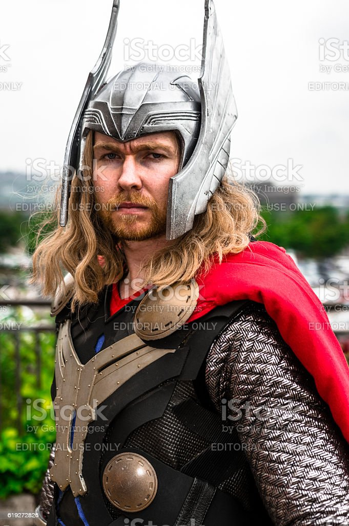 Cosplayer dressed as 'Thor' from Marvel stock photo