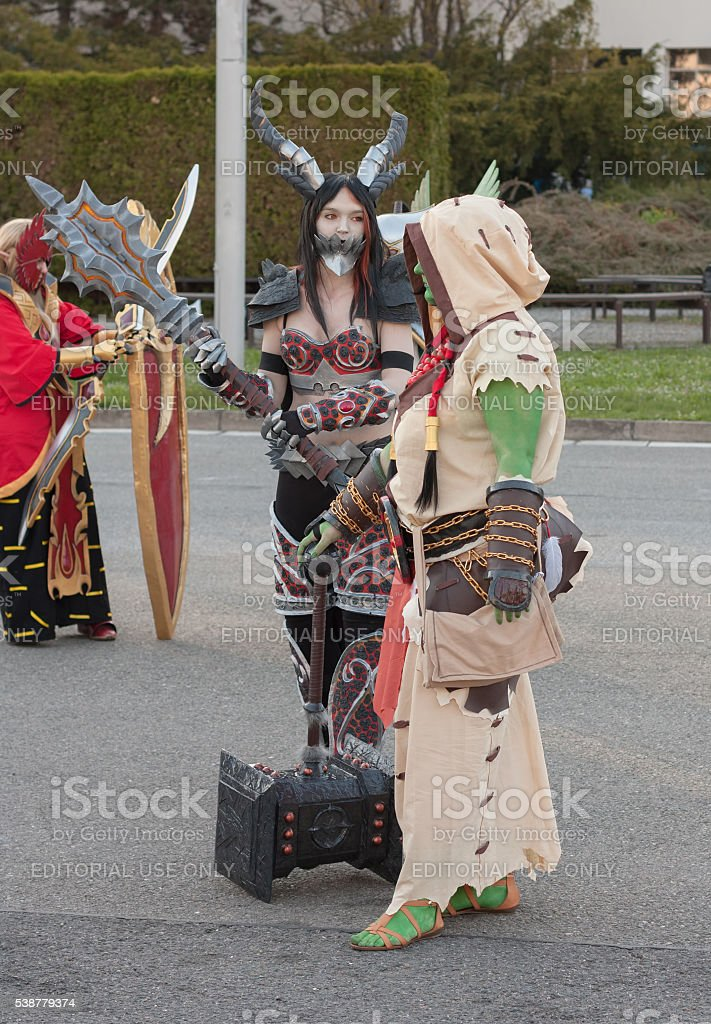 Cosplayers dressed as characters from game World of Warcraft stock photo