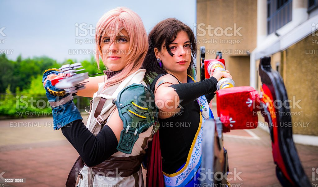 Cosplayers dressed as 'Lightning' and 'Fang' from 'Final Fantasy stock photo