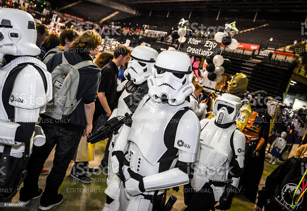 Cosplayers dressed as stormtroopers and biker scout from Star Wars stock photo