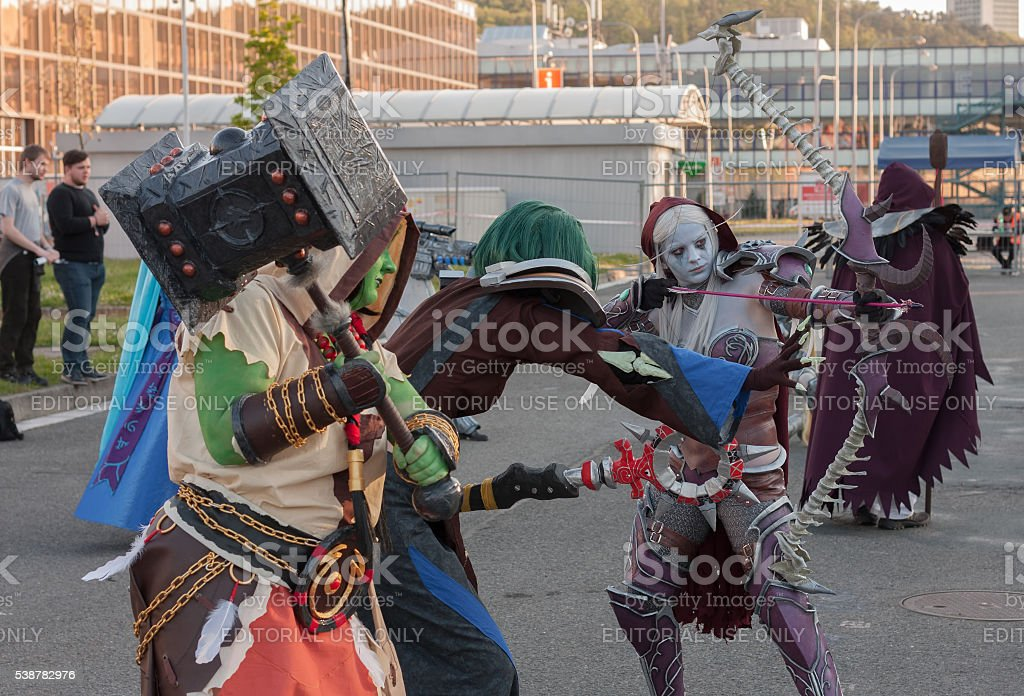 Cosplayers  dressed as the characters from game World of Warcraf stock photo