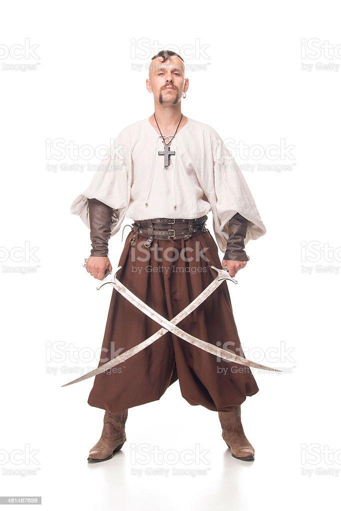Cossack with sword, isolated stock photo