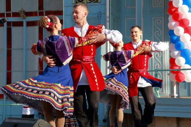 cossacks dance on the stage a folk dance. pyatigorsk, russia - traditional ceremony stock pictures, royalty-free photos & images