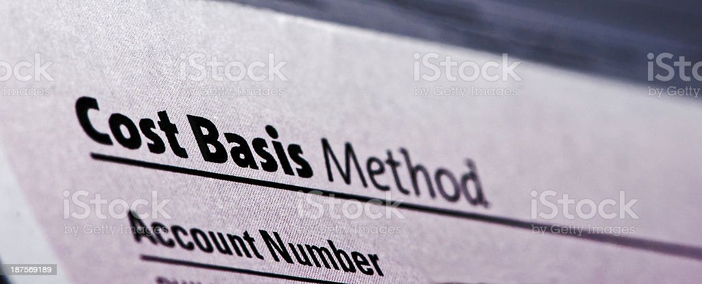 Cost Basis Report for Sale of Stocks or Mutual Funds royalty-free stock photo