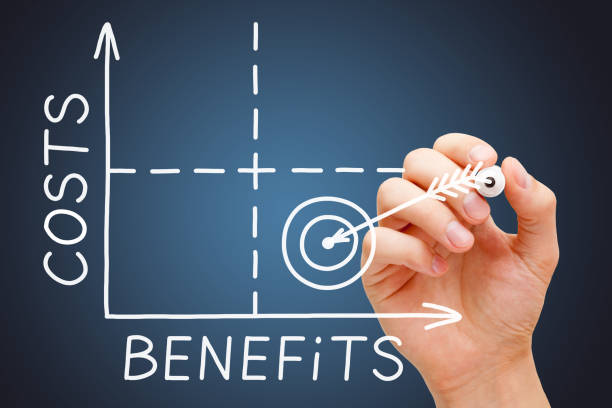 Cost Benefits Matrix Graph Concept Hand drawing Cost Benefits matrix graph concept with white marker on transparent wipe board on dark blue background. expense stock pictures, royalty-free photos & images