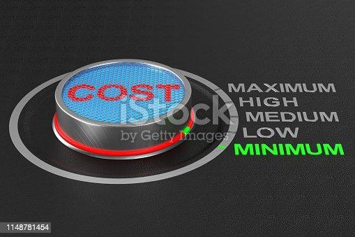 1197953545istockphoto Cost button on dark background. 3D illustration 1148781454