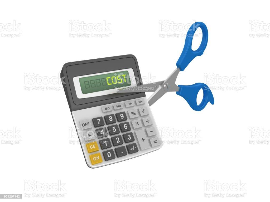 Cost Calculator With Scissors 3d Rendering Stock Photo