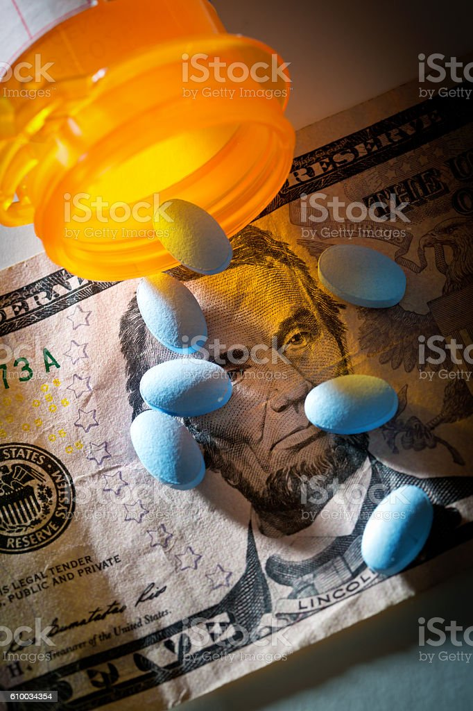 Cost of Healthcare and Prescription Drug Medication stock photo