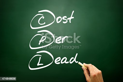Hand drawn Cost Per Lead (CPL), business concept acronym on blackboard..