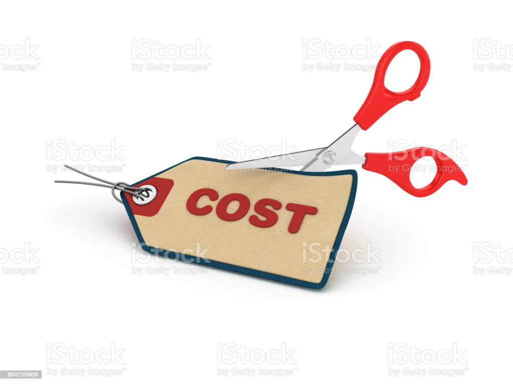 Cost Shopping Tag with Scissors - 3D Rendering royalty-free stock photo