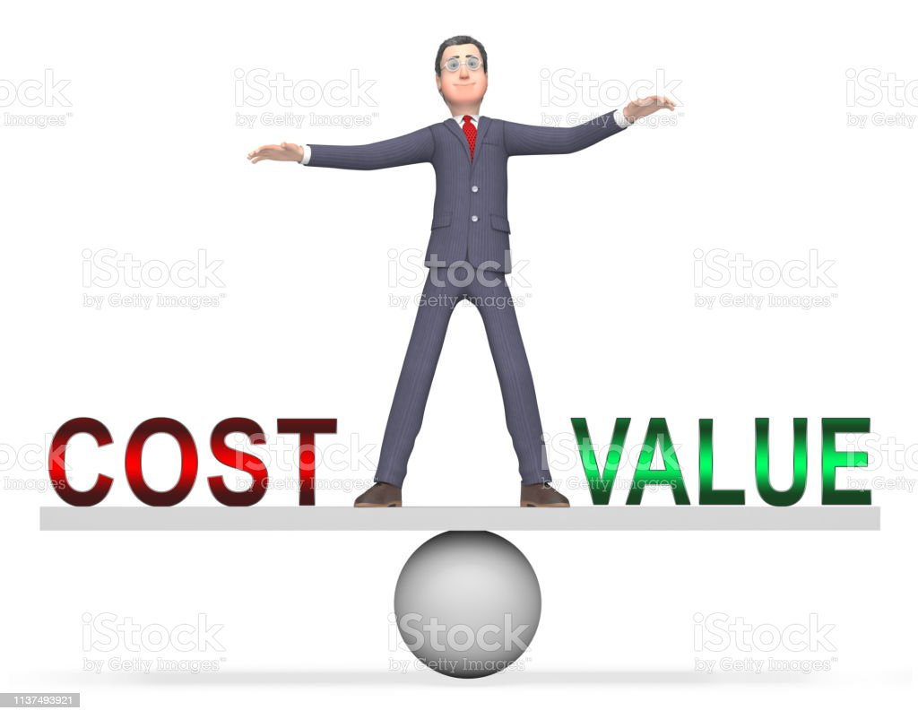 Cost Vs Value Businessman Denotes Return On Investment Roi 3d Illustration Stock Photo Download Image Now Istock