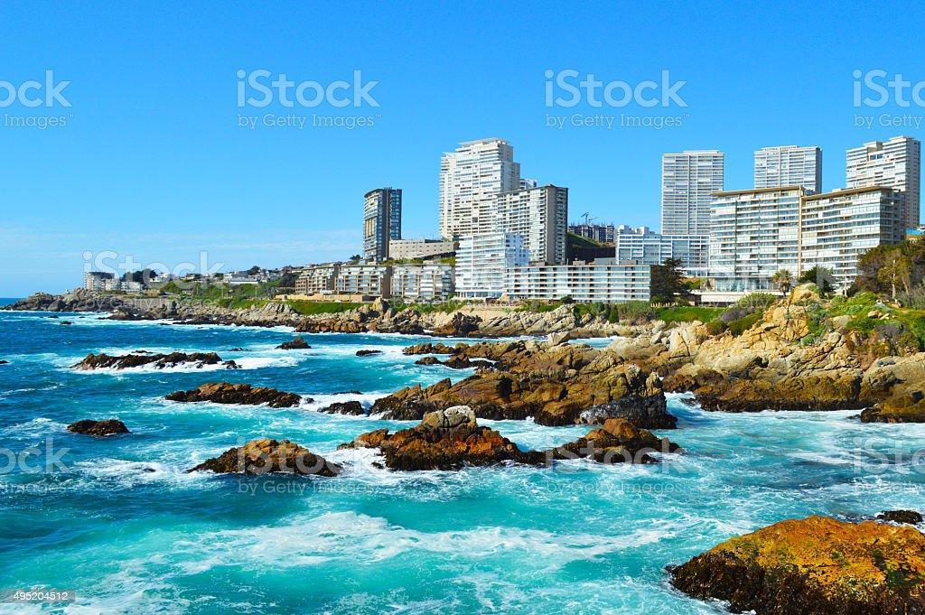 Costa Brava in Viña del Mar, Chile royalty-free stock photo