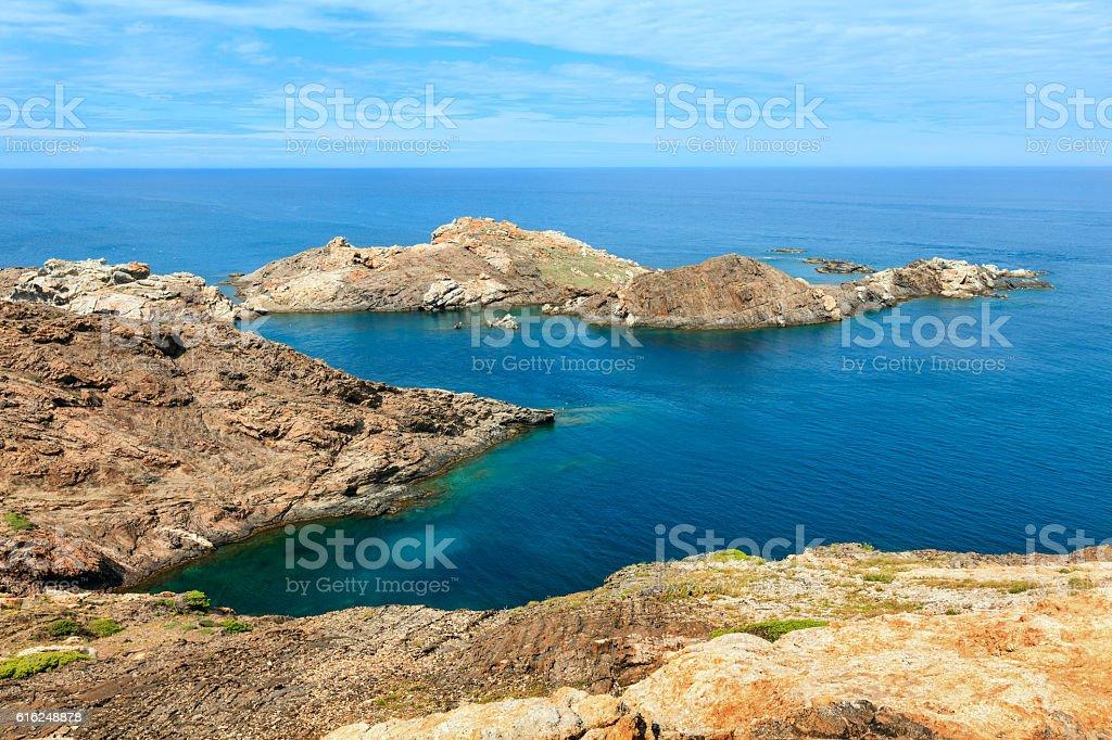 Costa Brava rocky coast, Spain. stock photo