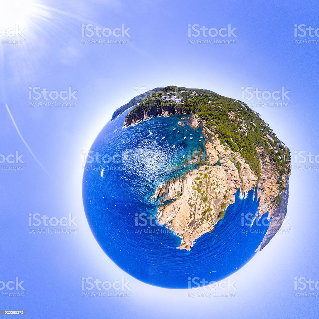costa brava tiny little planet sun round spain aerial view stock photo