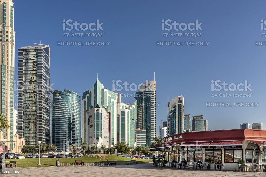 Costa Coffee cafe on the Corniche in Doha stock photo