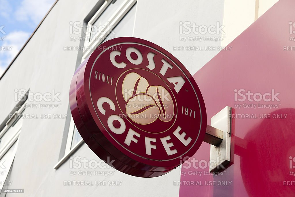 Costa coffee shop sign stock photo