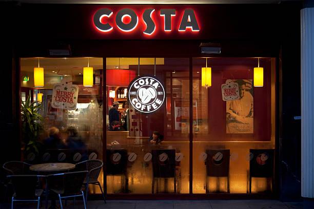 Costa Coffee shop Fenster, Schild und logo – Foto