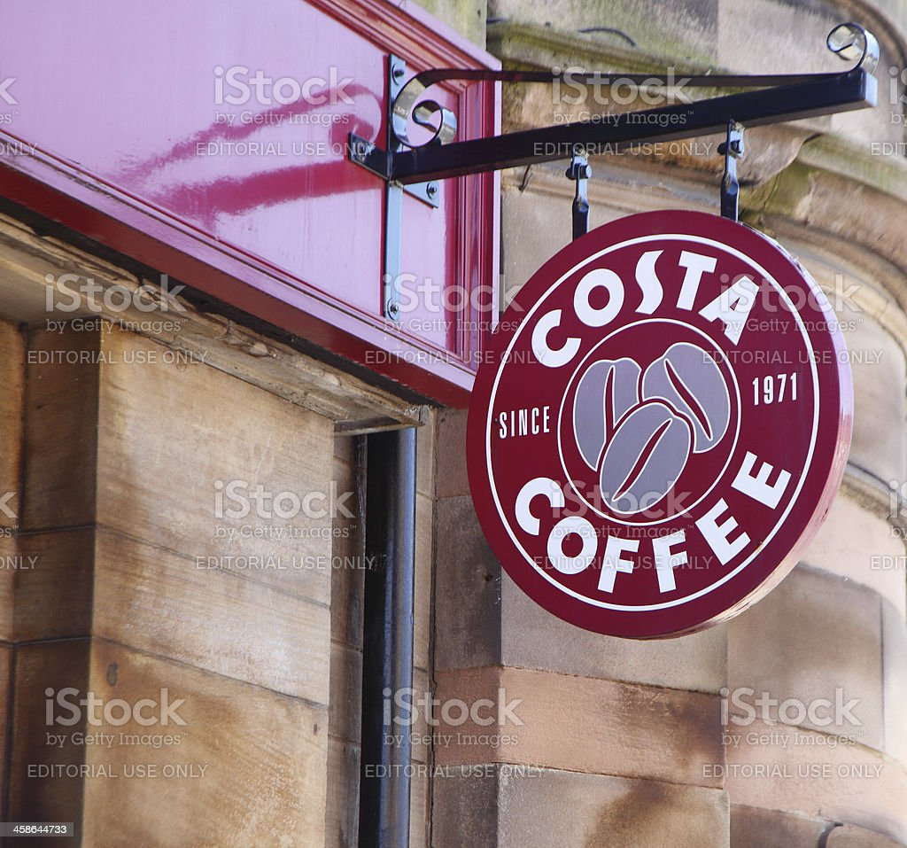 costa coffee sign stock photo