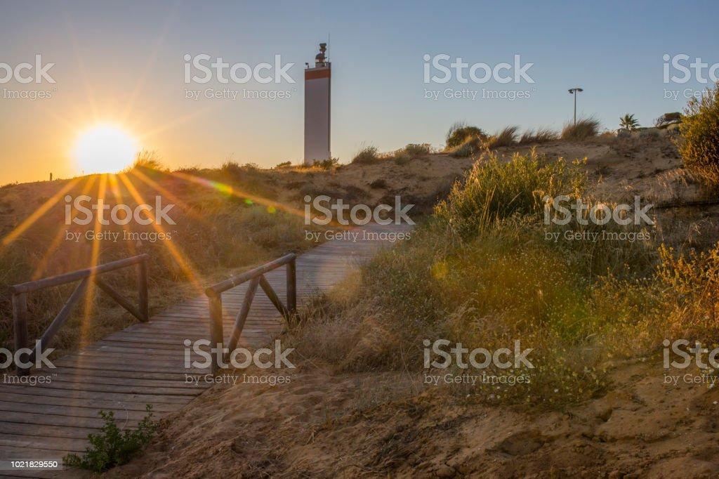 Costa De La Luz Promenade am Sonnenuntergang, Almonte, Spanien – Foto