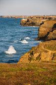 Ocean waves breaking on the shore cliffs Cantabrian Sea. Lugo, Galicia.Norte of Spain  -Olas de mar batiendo los acantilados en la costa del mar Cantabrico. Lugo, Galicia. Norte de España