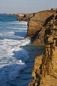 Ocean waves breaking on the shore cliffs Cantabrian Sea. Lugo, Galicia.Norte of Spain  - Olas de mar batiendo los acantilados en la costa del mar Cantabrico. Lugo, Galicia. Norte de España