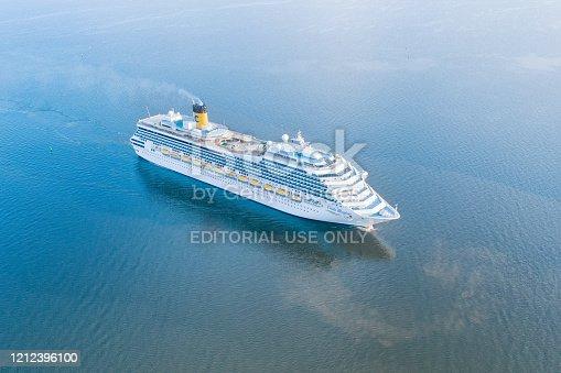 25 June 2019, Saint Petersburg, Russia. Costa Magica cruise ship in the open sea aerial view