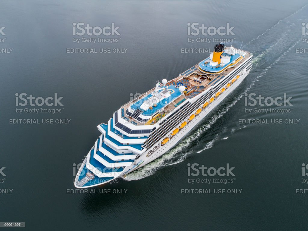 Costa Magica Cruiser Ship in the Stockholm Swedish archipelago stock photo