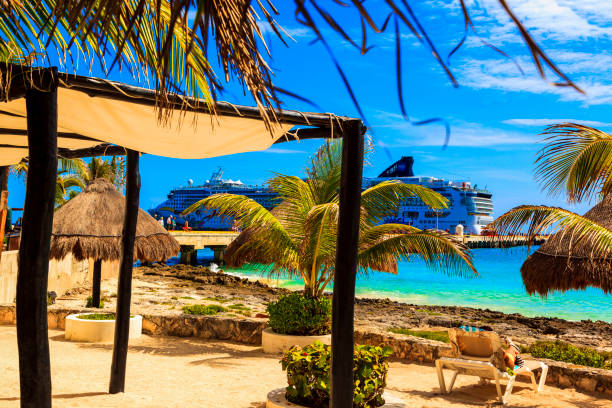 Costa Maya cruise ship terminal. stock photo