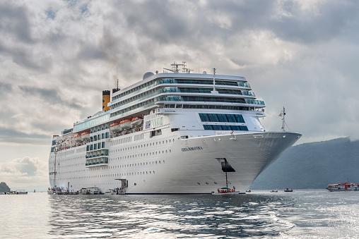 Hell-Ville, Madagascar - December 19, 2015: Costa Neoromantica Cruise ship anchored at Hell-Ville, Nosy Be Island, Madagascar.