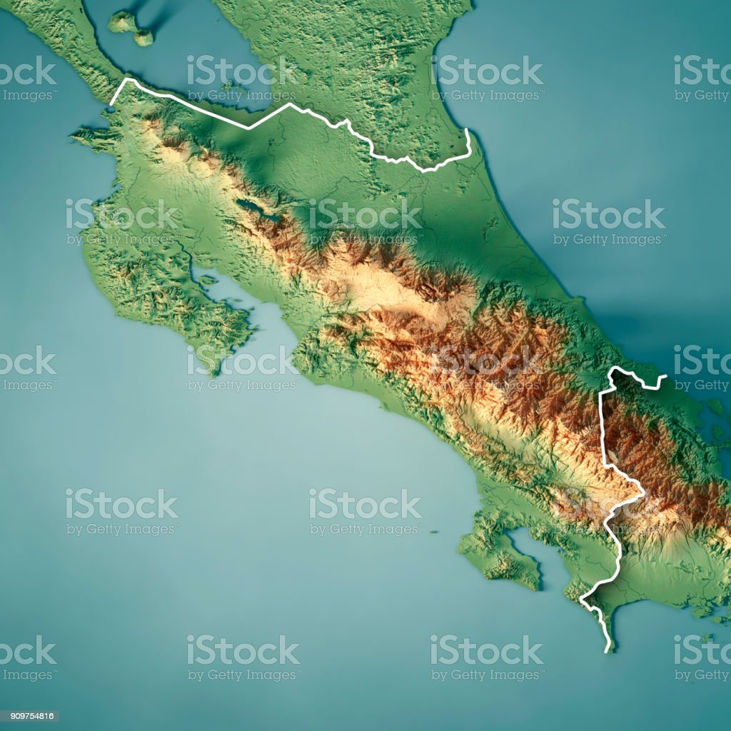 Costa Rica 3d Render Topographic Map Border Stock Photo More