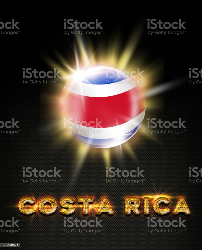 Costa Rica exploding button with flag and name stock photo