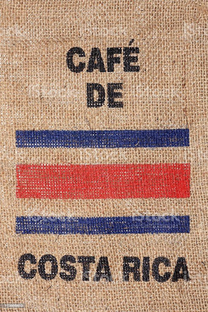 Costa Rica flag on burlap coffee bag royalty-free stock photo