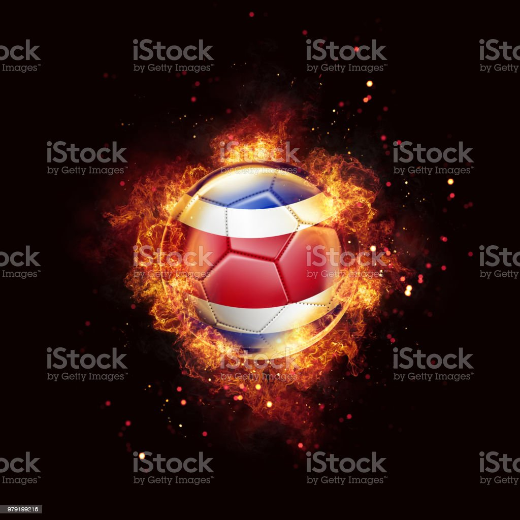 Costa Rica flag soccer ball with flames and fire isolated on black stock photo