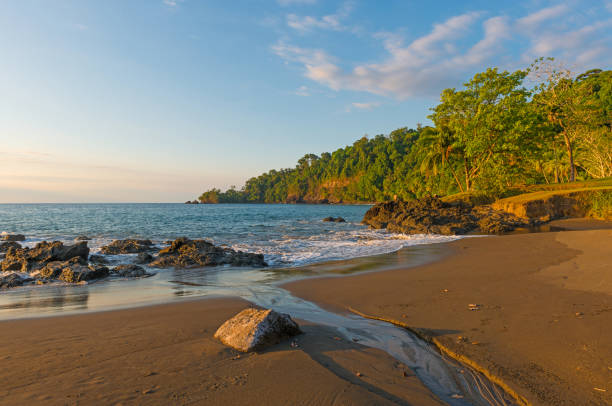Costa Rica Jungle Sunset Sunset along the Pacific Ocean coast and jungle of Costa Rica at the entrance of Corcovado national park at sunset. limoen stock pictures, royalty-free photos & images