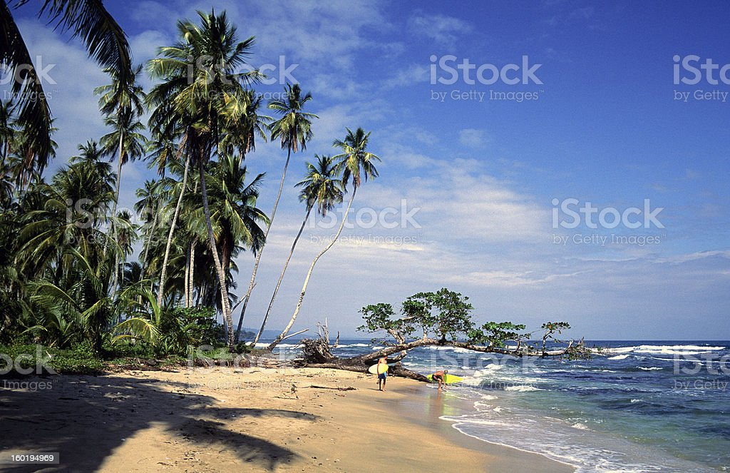 Costa Rica, Limon Province, Playa Chiquita, surfers. royalty-free stock photo