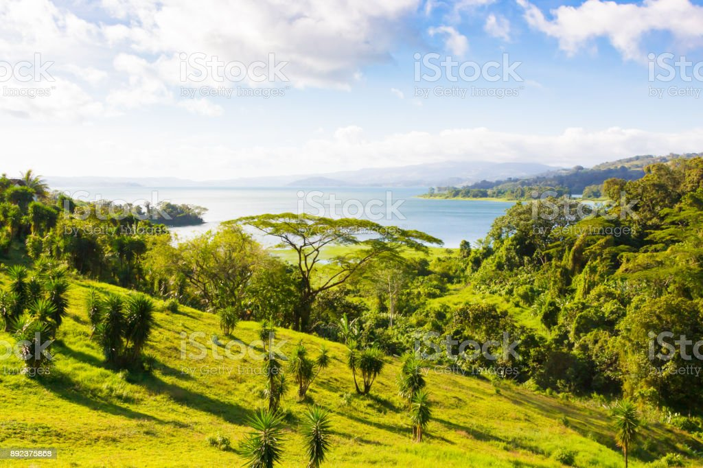 Costa rica Costa de panorama en verano con sol - foto de stock