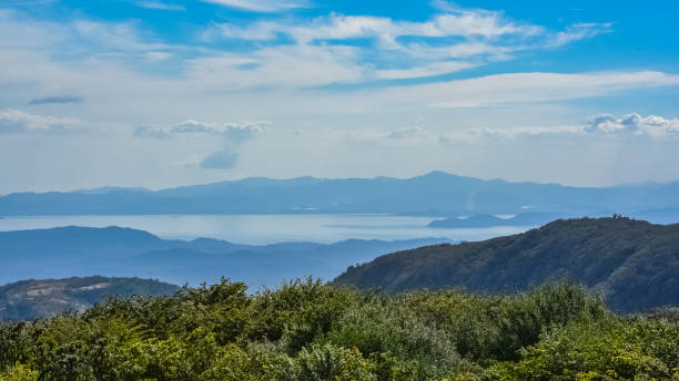 Costa Rica, Panorama Costa Rica, panorama of the Nicoya bay, view from the Monteverde mountains nicoya peninsula stock pictures, royalty-free photos & images