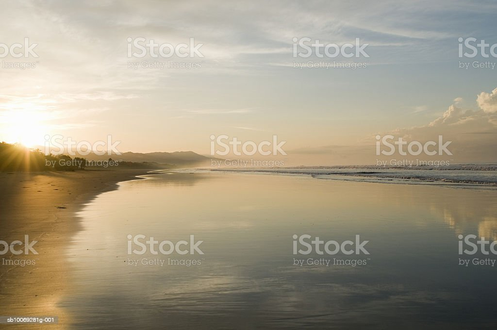 Costa Rica, Playa Matapalo, sunrise on tropical beach royalty-free stock photo