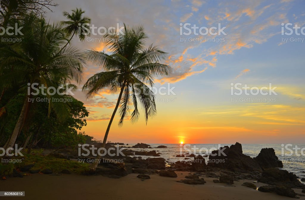 Costa Rica Sunset stock photo
