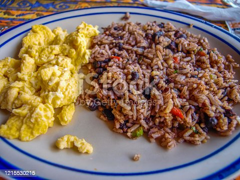 Gallo Pinto with scrambled eggs, traditional breakfast of Costa Rica made of rice and black beans