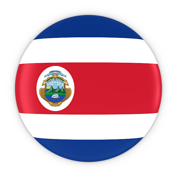 Costa Rican Flag Button - Flag of Costa Rica Badge - foto de stock