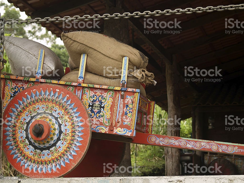Costa Rican Ox Cart loaded with coffee bags stock photo