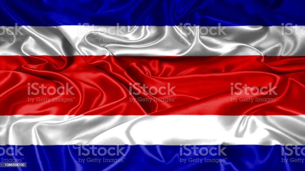 Costa Rico flag emblem seal on silk and satin texture with mask stock photo